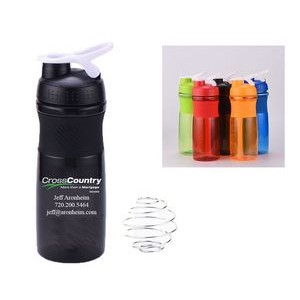 24oz Premium Shaker Bottle with Stainless Steel Ball and Finger Loop